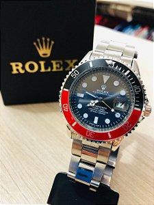 Relógio Rolex Prata Fundo Preto Detalhe Vermelho Frete Gratis