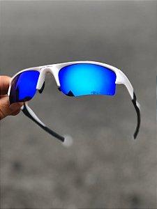 Oculos Oakley Flack Lente Azul Armaçao Branca Com Preto Frete Grátis