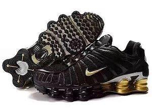 Tênis Nike Shox 12 Molas Preto Com Dourado Frete Grátis