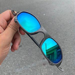 Óculos Oakley Juliet Lente Azul Brilho Reto Armação X-metal Frete Grátis