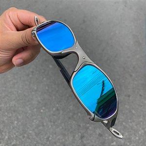 Óculos Oakley Juliet Lente Azul Brilho Reto Armação Plasma Frete Grátis
