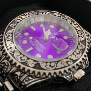 Relógio New Rolex Prata Fundo Roxo Frete Gratis