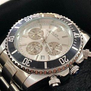 Relógio New Rolex Prata Fundo Prata Frete Grátis
