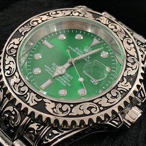 Relógio New Rolex Prata Fundo Verde Frete Grátis