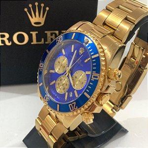 Relógio New Rolex Dourado Fundo Azul Frete Grátis
