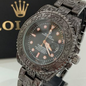 Relógio New Rolex Preto Fundo Preto Frete Grátis