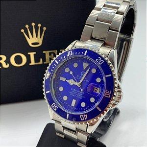 Relógio Rolex Submariner Prata Com Fundo Azul Frete Grátis