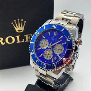 Relógio New Rolex Prata Com Fundo Azul Frete Grátis