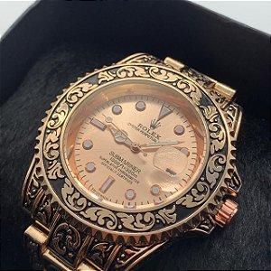 Relógio Rolex Prata Com Fundo Azul Frete Grátis Ref01