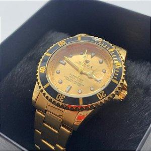 Relógio Rolex Submariner Dourado Fundo Dourado Frete Grátis