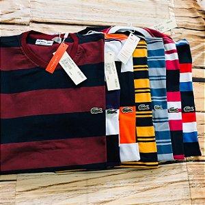 Lote Com 10 Camisetas Lacoste listrada Frete Grátis 01 - ATACADO -