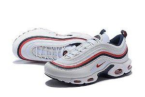 Tênis Nike Air Max 97 Plus Branco Com Vermelho Frete Grátis
