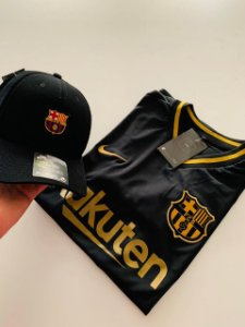 Kit Camiseta Barcelona Preta + Boné Frete Grátis