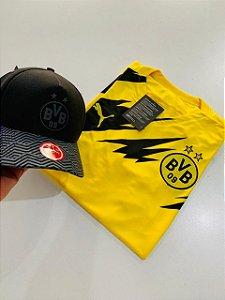 Kit Camiseta Borussia Dortmund Amarela + Boné Preto Com Frete Grátis