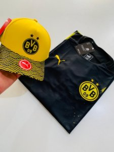 Kit Camiseta Borussia Dortmund Preta + Boné Amarelo Com Frete Grátis