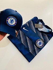 Kit Camiseta Chelsea Azul +Boné Com Frete Grátis