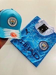 Kit Camiseta Manchester City Azul Bebe + Boné com Frete Grátis