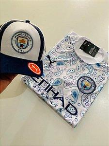 Kit Camiseta Manchester City Azul Branco + Boné com Frete Grátis