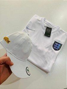 Kit Camiseta Inglaterra Branca + Bone Lacoste Com Frete Grátis