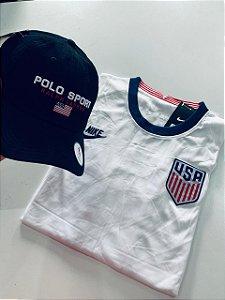 Kit Camiseta Usa + Boné Polo Com Frete Grátis