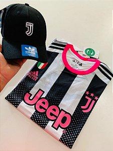 Kit Camiseta Juventus Detalhes Rosa + Boné Com Frete Grátis