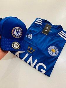 Kit Camiseta Leicester Azul + Boné Chelsea Com Frete Grátis