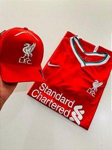 Kit Camiseta Liverpool Vermelha + Boné Com Frete Grátis