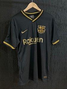 Camiseta Barcelona Preta Com Dourado Com Frete Grátis