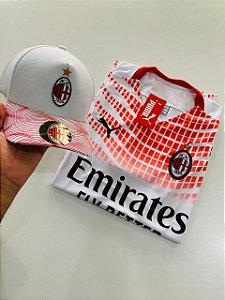Kit camiseta Milan Branco + Boné Com Frete Grátis