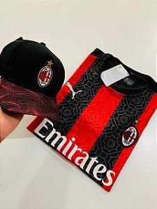 Kit camiseta Milan Listrada + Boné Com Frete Grátis
