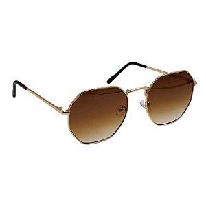Oculos De sol Hexagonal Dourado Degradê Marrom