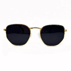 Oculos De sol Berlim Hexagonal Dourado Lente Preta