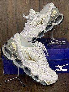 Tênis Mizuno Wave Prophecy 8 Branco E Dourado Com Frete Grátis