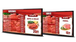 Tabela Digital para Açougue e Casa de Carnes fundo vermelho