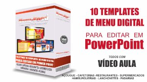 Coletânea 10 templates para menu digital em Power Point