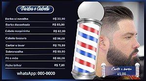 Menu digital para Barbearia Barber Shop - Divulgação de Produtos e Serviços