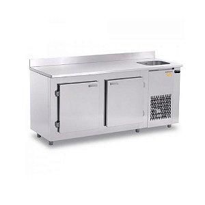 Balcão Refrigerado de Encosto Inox 2 Portas 484L Gelopar GBFE190