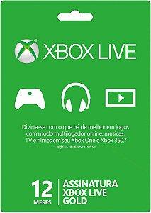 Xbox Live Gold 12 Meses 25 Digitos Envio Imediato X360/one
