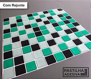 Placa Pastilha Adesiva Resinada 30x27 cm - AT048 - Verde Preto