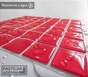Placa Pastilha Adesiva Resinada 18x18 cm - AT071 - Vermelho