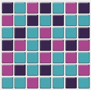 Placa Pastilha Adesiva Resinada 18x18 cm - AT094 - Azul Roxo