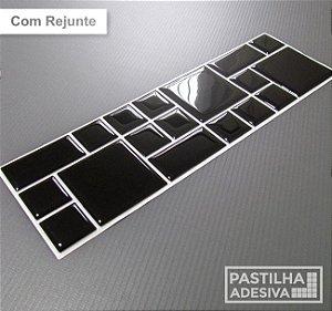 Faixa Mosaico Adesiva Resinada 27x8 cm - AT100 - Preto