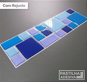 Faixa Mosaico Adesiva Resinada 27x8 cm - AT112 - Azul Amarelo