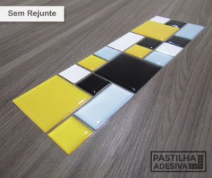 Faixa Mosaico Adesiva Resinada 27x8 cm - AT114 - Amarelo Preto
