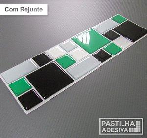 Faixa Mosaico Adesiva Resinada 27x8 cm - AT115 - Verde Preto
