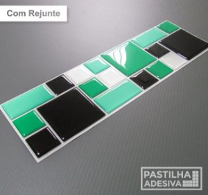Faixa Mosaico Adesiva Resinada 27x8 cm - AT116 - Verde Preto
