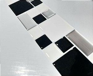 Faixa Mosaico Adesiva Resinada 27x8 cm - AT122 - Preto Escovado