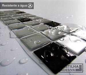 Faixa Pastilha Adesiva Resinada Aço Escovado 28x9 cm - AT149