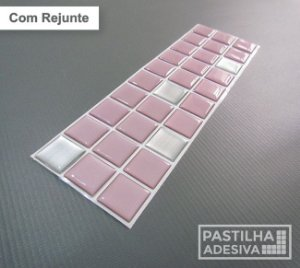 Faixa Pastilha Adesiva Resinada Aço Escovado 27x8 cm - AT162 - Rosa