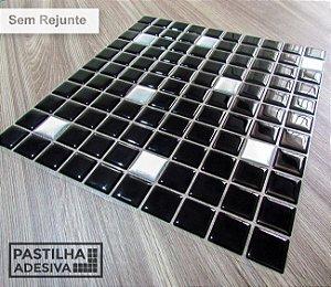 Placa Pastilha Adesiva Resinada 30x27 cm - AT177 - Preto